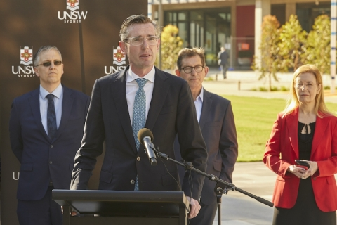 NSW Premier Dominic Perrottet announcing RNA facility