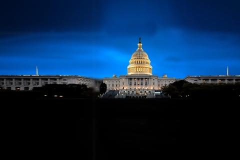 The White House in Washington DC, USA, is illuminated at night