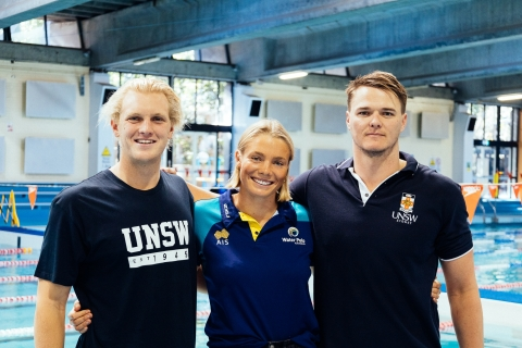Tim Putt, Amy Ridge and Nathan Power at the UNSW Fitness and Aquatic Centre