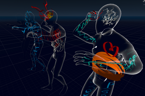 Body mapping session in Virtual Reality using EmbodiMap developed by UNSW fEEL Lab Scientia Professor Jill Bennett and lead immersive media designer Volker Kuchelmeister.