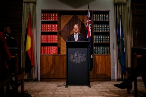 Health Minister Greg Hunt at a press conference