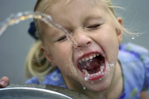 water drinking girl