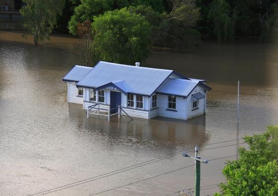 Flooded house in Brisbane floods, 2011