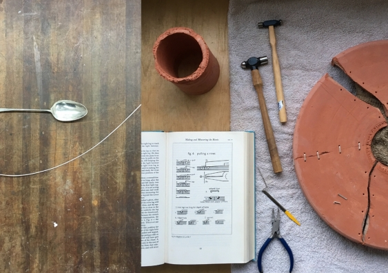 Process documentation of Jugaad plate repair, Guy Keulemans, Kyoko Hashimoto & Trent Jansen. Photo: artist.