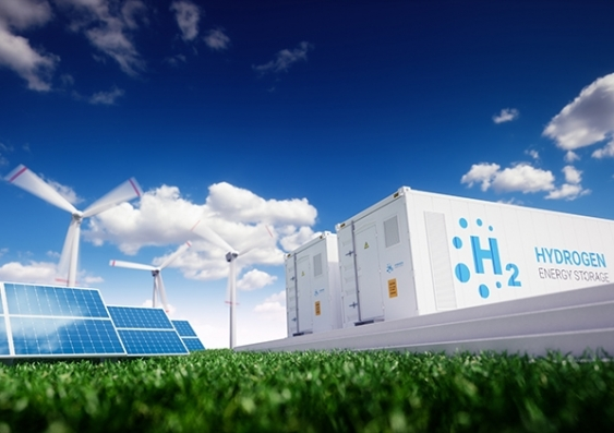 Solar cells, wind turbines and structures that house the electrolyser to create hydrogen