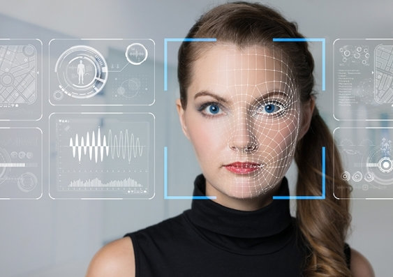 Photo of woman with artificial intelligence face recognition overlay