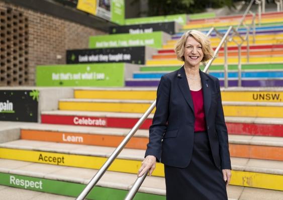 Eileen Baldry on the rainbow steps, UNSW Mall walkway