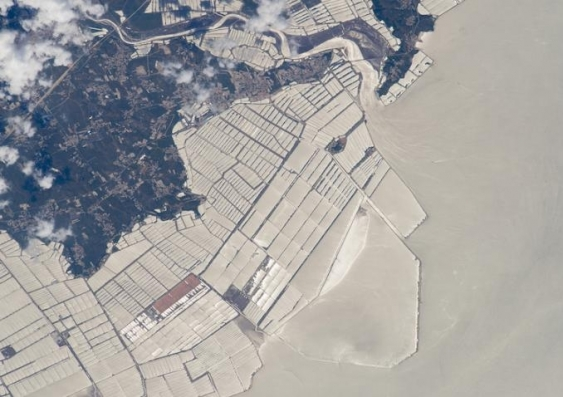 Aquaculture farms in the coast of China's northeast province of Liaonin