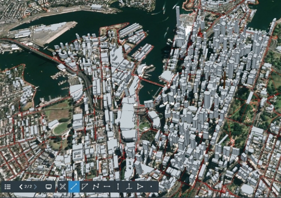 3d model of city of Sydney cycling network