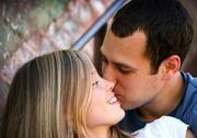 Kissing couple inside