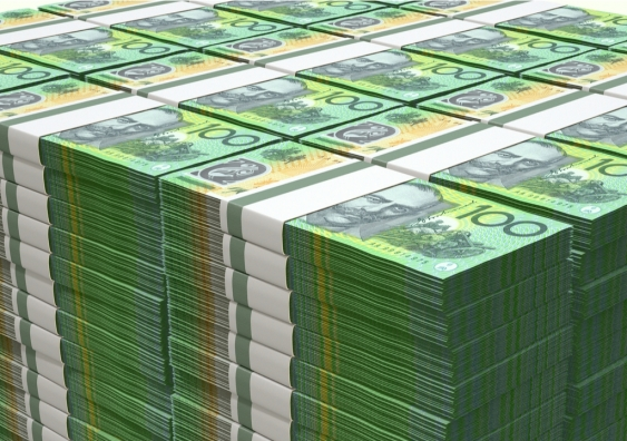 Stack of Australian $100 dollar bills