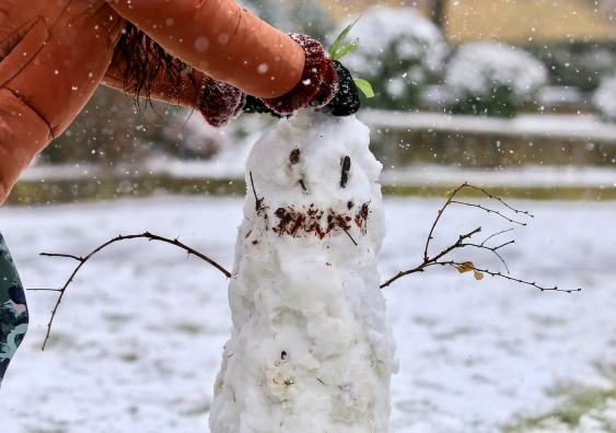 a very sad snowman
