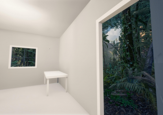 A room looking out onto a lush forest virtual landscape in The Edge of the Present  Photo - Alex Davies