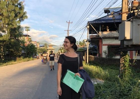 Elia Hauge after the last survey in Dharan