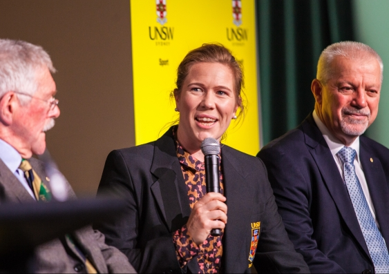 Alex Blackwell speaking at the UNSW Sport Hall of Fame event