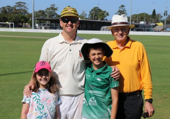 Andrew Jones with his family at UNSW Cricket Club