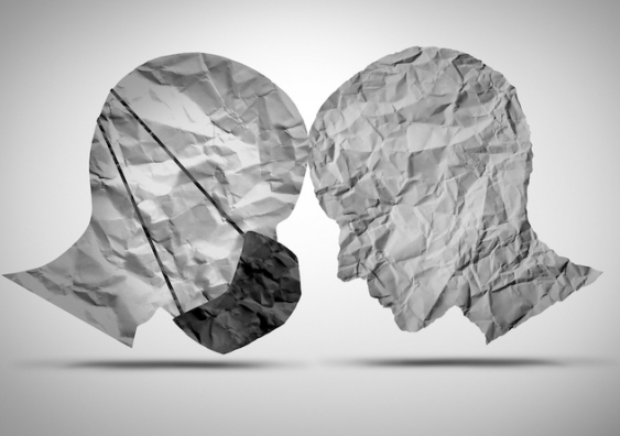 artistic representation of two heads one wearing a mask