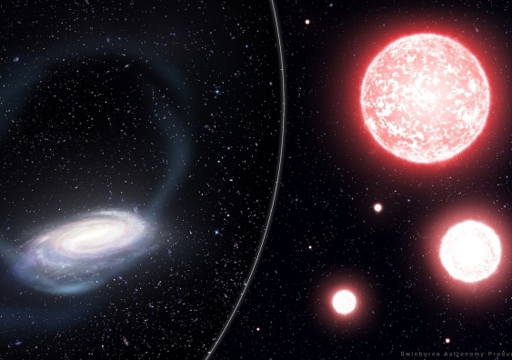 Artist's impression of the thin stream of stars torn from the Phoenix globular cluster, wrapping around the Milky Way