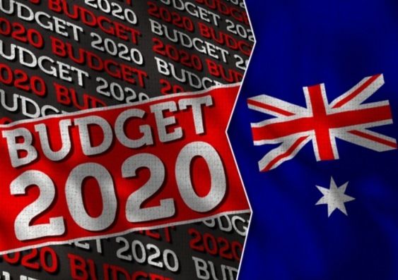 An image of the Australian flag and a sign with 'Budget 2020' on the left.