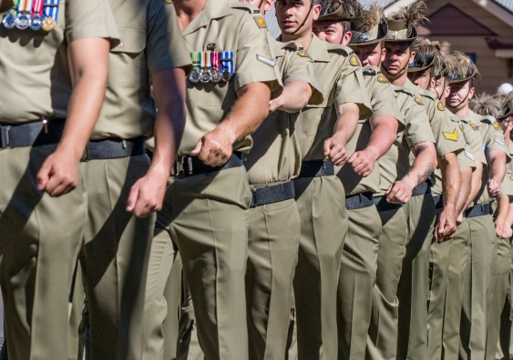 australian soldiers marching on parade