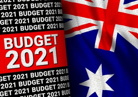 Text reads Budget 2021 next to Australian flag
