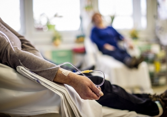Unidentifiable patients receive chemotherapy treatment in a hospital