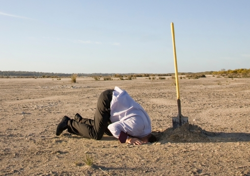 Climate denialism - person with head in sand