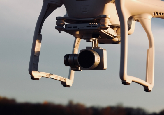 close up shot of a drone with a camera