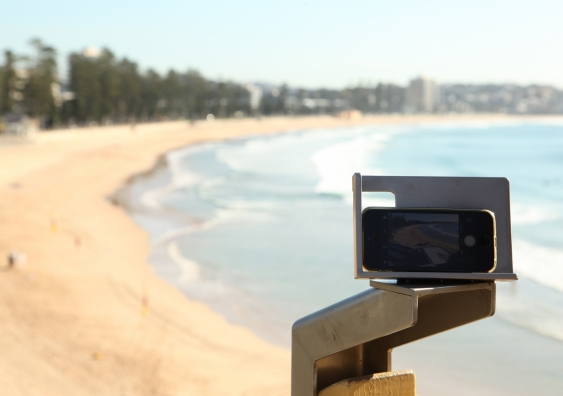 CoastSnap station at Manly Beach. Credit Larry Paice