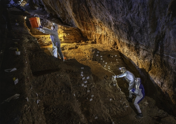 Collecting samples for ancient DNA analyses at Chiquihuite Cave