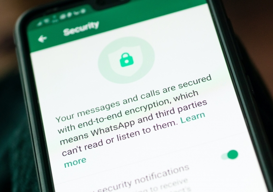 Phone showing end-to-end encryption message
