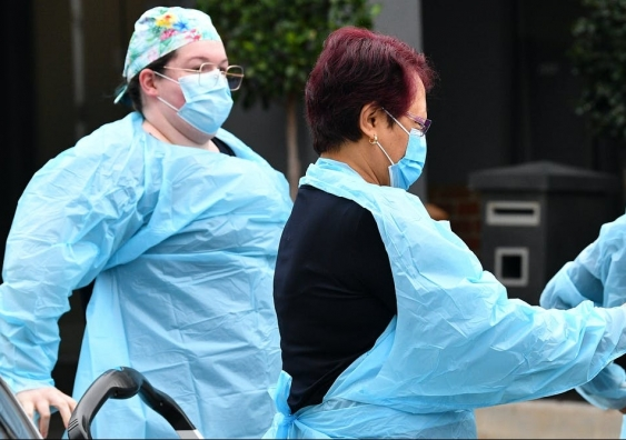 Health care workers wearing PPE