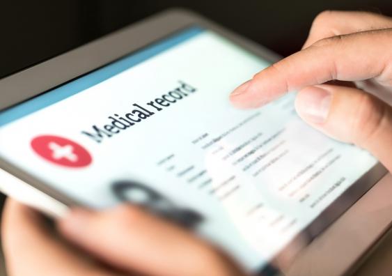 digital medical record on a tablet