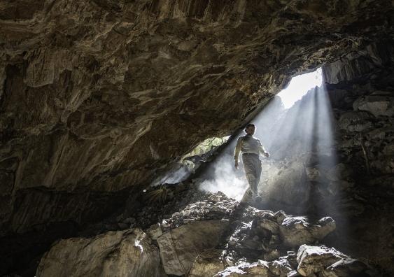 Dr Ciprian Ardelean inside Chiquihuite Cave