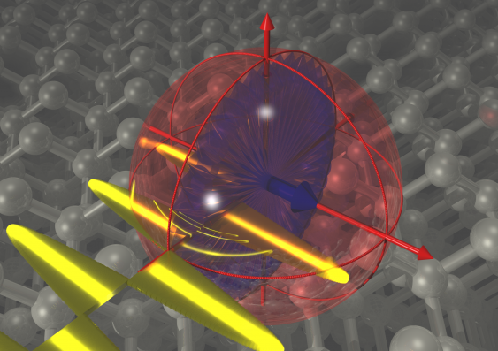 Artist''s impression of a single-atom electron spin, hosted in a silicon crystal and dressed by an oscillating electromagnetic field.