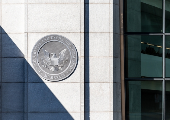 Entrance to the US Securities and Exchange Commission shows emblem on building