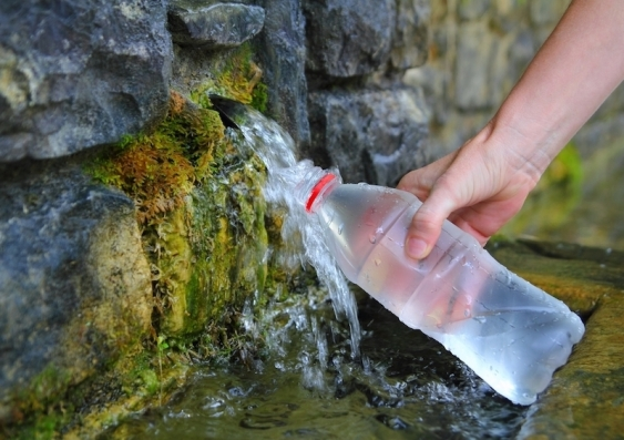 filling a water bottle from a spring