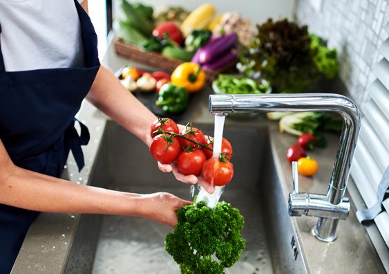 Washing fruit and veggies