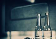 Glass bottles inside