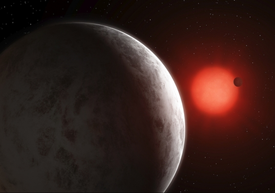 An artist's impression of the GJ887 planetary system.