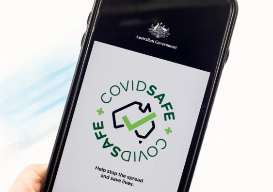 Hand holding phone with CovidSafe app open