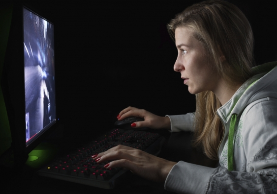 girl playing computer games