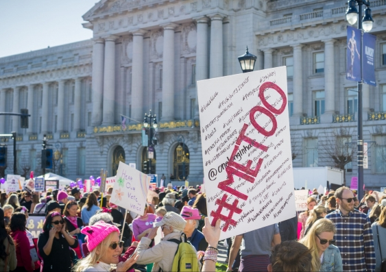 San Francisco, Me Too sign raised high by a Women's March participant, January, 2018