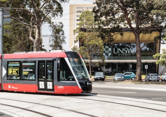 light rail passing high street stop at unsw