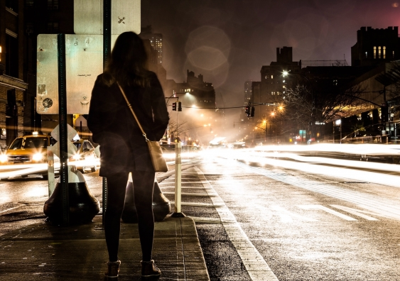 Women in city at night