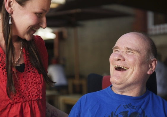 man with friend-support worker