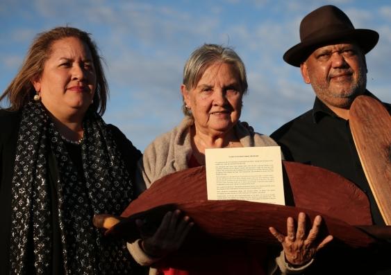 Megan Davis, Pat Anderson and Noel Pearson with Uluru Statement