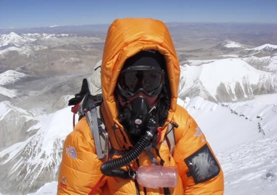 Nikki Bart with oxygen mask
