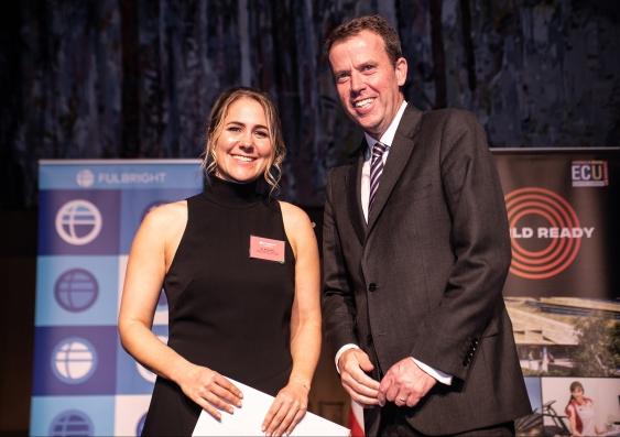 Nikki Bart receiving her Fulbright Future Scholarship