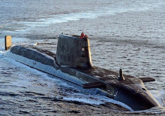 nuclear submarine hms ambush travels at surface level with crew in the conning tower